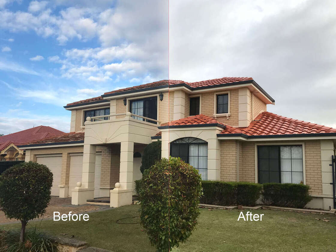 Picture showing roof restoration in perth done by roof restorers perth, before and after a professional roof restoration